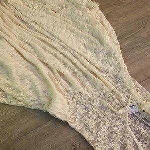Full length sheer lace dress